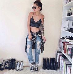 top black bralette crop tops grunge boho jeans converse home accessory shoes shirt