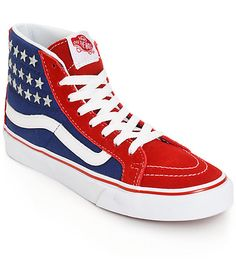 Get classic in patriotic fashion with these high top shoes that feature an American inspired red, white and blue print finished with metal studded star detailing.