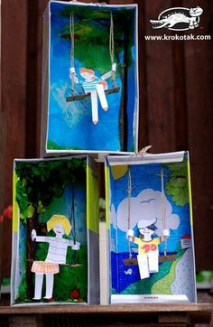 Kunst Grundschule - Swing from an empty shoe box . on Krokotak. Projects For Kids, Diy For Kids, Crafts For Kids, 3d Art Projects, Classe D'art, Crafty Kids, Art Classroom, Summer Crafts, Art Plastique
