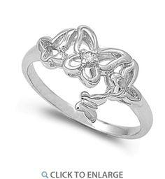 Sterling Silver Clear Butterflies Cut CZ Ring