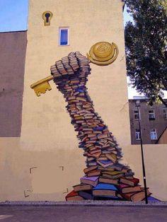 40 examples of street art and murals about books, libraries,… – Graffiti World 3d Street Art, Street Art Banksy, Murals Street Art, Best Street Art, Art Mural, Wall Street, Wall Murals, Art Art, Street Signs