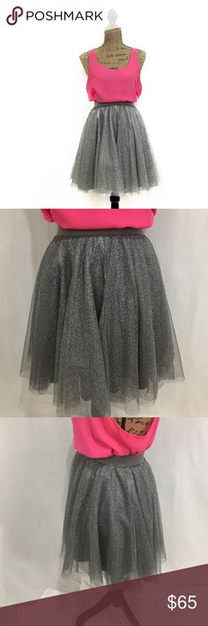 Lauren Conrad silver glitter tulle mini skirt New. Super cute. Size xs. Materials in photos. Stretchy waist band. Free hips. Length-18 inches approx.   🌹no trades 🌹discounts on bundles of 2+  🌹1000 items listed, take a peak!  🌹suggested user, posh compliant: LC Lauren Conrad Skirts