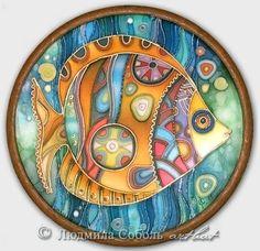 """Купить Батик """"Рыбка"""" - Батик, ручная роспись, авторская работа, натуральный шелк, натуральный атлас"""