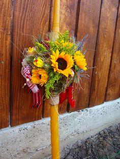 flori#traditional#romanesc Baptism Candle, Wreaths, Candles, Rustic, Traditional, Weddings, Fall, Handmade, Home Decor