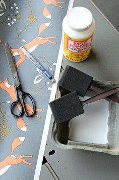 How to modge podge fabric unto furniture