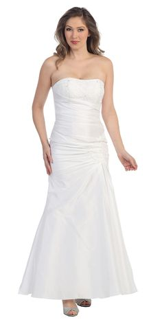Sale! White Strapless Bridal Dress in Medium Size for only $49.00 #discountdressshop #bridalgown #wedding #clearance #saledress #formalwear