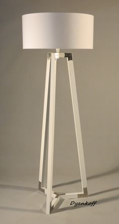 Handmade Tripod Floor lamp wooden stand in white by DyankoffShop