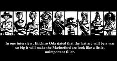 In one interview, Eiichiro Oda stated that the last arc will be a war so big it will make the Marineford arc look like a little, unimportant filler, text, facts, Straw Hat Crew, Mugiwara, Luffy, Sanji, Zoro, Chopper, Usopp, Brook, Franky, Nami, Robin; One Piece