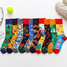 Moda Socmark 2019 New Arrival Men Happy Socks Cartoon Funny Socks for Women Men Brand Fashion Casual Cotton Couple Long Socks Happy Socks, Funny Happy, Funny Cute, Yellow Socks, Funky Socks, Crew Socks, Socks Men, Cotton Socks, Funny Cartoons