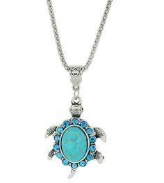 Turtle Faux Turquoise Necklace