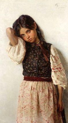 Girl From Little Russia-Nikolai Kornilievich Bodarevsky (1850-1921)Russian