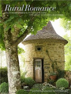 LOVE this garden structure! A medieval pigeonnier surrounded by boxwood, European wild ginger, & impatiens adds a mythical dimension to the garden of a 15th century farmhouse in the Dordogne region of southwestern France restored by Washington D.C. antiques dealer Marston Luce. Veranda May-June 2014