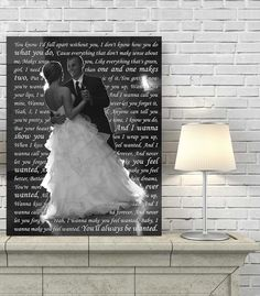 wedding must have! First dance photo and lyrics canvas art by Geezees.com