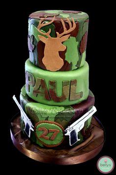 hunting birthday Cake Ideas for Men CamoDeerHunting Cake Cake