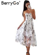 d95fe95a50 BerryGo Back lace up floral print long dress Women sexy lining organza summer  dress 2017 Beach