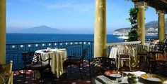 View of the bay of Naples from the hotel Syrenuse in Sorrento
