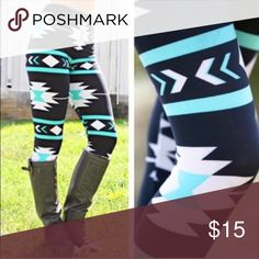 Os one size turquoise black Aztec leggings One size fits most. Best For sizes 2-10 Pants Leggings