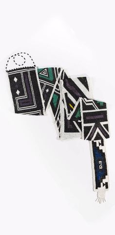 Africa | Bridal train/ veil ~ 'nyogoa' ~ from the Ndebele people of South Africa | Glass beads and cotton thread | ca. 1950 or earlier