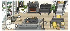 Minions, Cute App, Border Templates, Japan Illustration, House Games, Neko Atsume, Lounge Design, Game Design, Design Ideas
