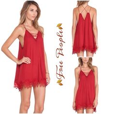 Free People Wicked Spell Dress Adorable Slipdress by Free People features a pretty appliqué detailing at hem, lots of strappy details, color is brick.100% rayon Free People Dresses Mini