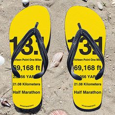 Kick back after a half marathon with these great flip flops! Fun and functional flip flops for all half marathoners. These half marathon sandals are waterproof and available in 5 sizes (please refer to the size chart to choose your correct size).