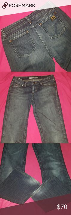 """JOE'S Jean's GIGI Wash ~ worn only once PERFECT Sexy and Comfy JOE'S JEAN'S GIGI wash. Size 29. I wore them once for less than 2 hours in a fashion show. They are perfect and like new. Distressed look as purchased. Has """"lightening"""" down legs, bum and bottom of jeans. High quality jeans that are perfect for casual or dressy attire. 99% cotton 1% elastin. Sadly no longer my size or I would never part with. Joe's Jeans Jeans Boot Cut"""