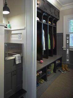 So cool! - mud room   CHECK OUT MORE MUDROOM FURNITURE IDEAS AT DECOPINS.COM   #Mudrooms #mudroom #mud #mudroomfurniture #whatisamudroom #mudroombench #mudroomdecoration #mudroompaint #mudroomdesign #mudroomideas #mudroomlockers #mudroomstorage #mudroomcabinets #mudroomhooks #mudroomcubbies #mudroomcloset #mudroomshoestorage #mudroomcoatrack #mudroomlighting #smallmudroom #mudroomentry