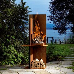 Garden fireplace from Attika. If you like simple straight lines of this Conmoto fireplace, the open design of the massive Attika EOS may appeal to you as well. Measuring in height, EOS garden fireplace is designed from heavy thick interleaved Outdoor Spaces, Outdoor Living, Outdoor Decor, Design Barbecue, Garden Art, Garden Design, Fence Design, Fire Pit Backyard, Garden Inspiration