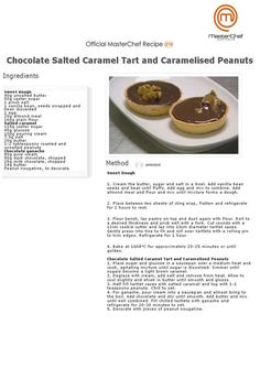 Chocolate Salted Caramel tart (Masterchef Australia Recipe) Read Recipe by ingethomassen Master Chef, Almond Recipes, Baking Recipes, Dessert Recipes, Quiches, Salted Caramel Tart, Masterchef Recipes, Recipe Master, Desserts With Biscuits