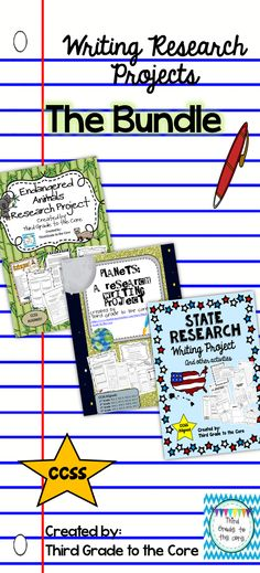 Three complete writing research projects with several activities for each. All come with project guidelines to help you use them in your classroom. This bundle is common core aligned.