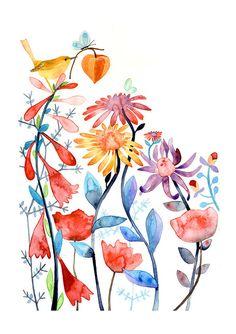 Jardín mágico pájaro flores naturaleza acuarela ilustración impresión multicolor