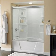 Delta Simplicity 60 in. Semi-Frameless Traditional Sliding Bathtub Door in Bronze with Rain Glass - 2435525 - The Home Depot Tub Shower Doors, Glass Shower Panels, Custom Shower Doors, Bathtub Doors, Frameless Shower Doors, Bathtub Shower, Bathtub Ideas, Bathroom Ideas, Small Bathroom