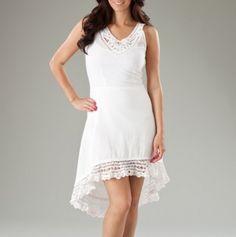Hi Low Hem dress with Lace Trim