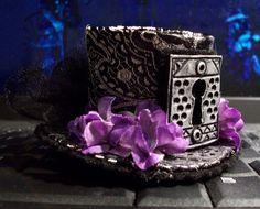 Mini Top Hat Barrette Steampunk Lolita Purple Barrette