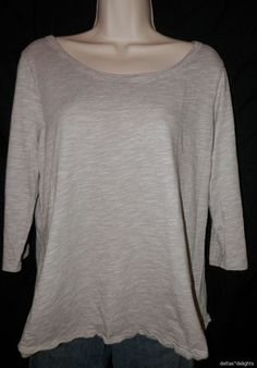 Womens Coldwater Creek Top XL 18 Tee Knit Brown Heathered 3 4 Sleeve Boatneck | eBay