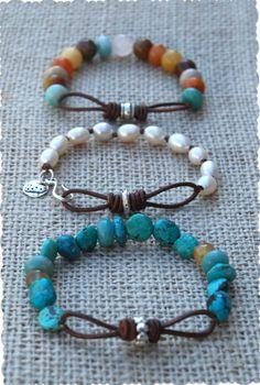Infinity Link Leather & Stone Bracelets