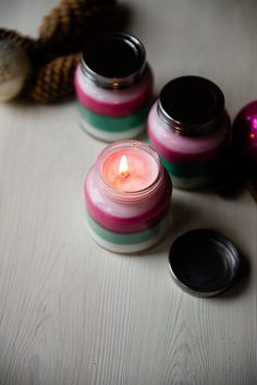 DIY Layered Scent Holiday Candles. Layered scent holiday candles are so much fun and super easy to make. Your house will filled with the delicious scent of peppermint, or balsam or frankincense wafts when the candles burn. You can also make them as homemade gifts to your friends.