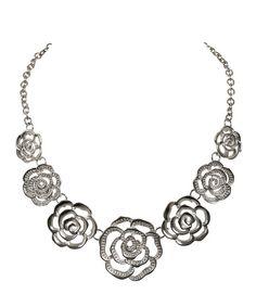 Metal Floral Necklace, Rhodium #rickis #hellosummer #summer2016 #rickisfashion #loverickis #bestdressedguest