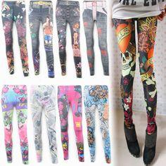 Frete grátis alta qualidade calças legging denim faux multicolour impressão personalizada, perneiras mulheres Venda quente da galáxia brilhante