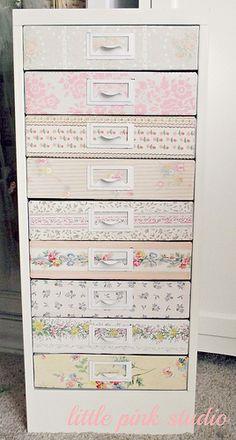 Filing cabinet Decoupage und Serviettentechnik - Mod Podge and Paper Napkins Technique Craft Room Storage, Craft Organization, Craft Rooms, Storage Ideas, Organizing Crafts, Paper Storage, Diy Crafts, Furniture Makeover, Diy Furniture