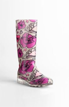 Is anyone else wowed by this???  Pink flowers, clear sole, awesome fashionable rain boot perfection! $108 from Coach.