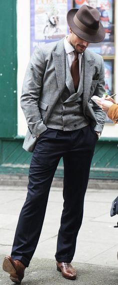 I. am. not. above. a retro moment. David Gandy is channeling his inner mobster in this ensemble