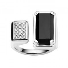 18CT DIAMOND & ONYX RONA RING