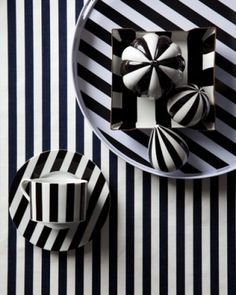 Striped Tablescape Elle Decor