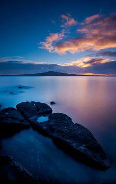 Sunrise looking towards Rangitoto Island, Auckland, NZ - Mike Hollman Photography