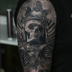 A stunning black and grey skull tattoo by Domantas Parvainis | Intenze ink