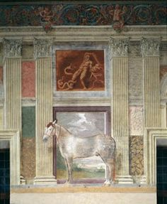 Mantova, Palazzo Te, Sala dei cavalli. Giulio Pippi ritrae gli stalloni degli allevamenti Gonzaga