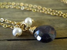 Natural Blue Sapphire and Pearls