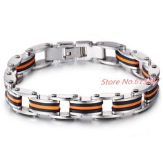 12mm 22cm Fashion Stainless Steel Silicone Bracelets Biker Bicycle Motorcycle Men Jewelry Accessories Free Shipping
