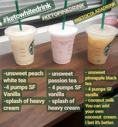 Bebidas Do Starbucks, Starbucks Secret Menu Drinks, Low Calorie Starbucks Drinks, Starbucks Coffee, Starbucks Smoothie, Starbucks Order, Starbucks Hacks, Healthy Starbucks Food, Starbucks Green Tea Drinks